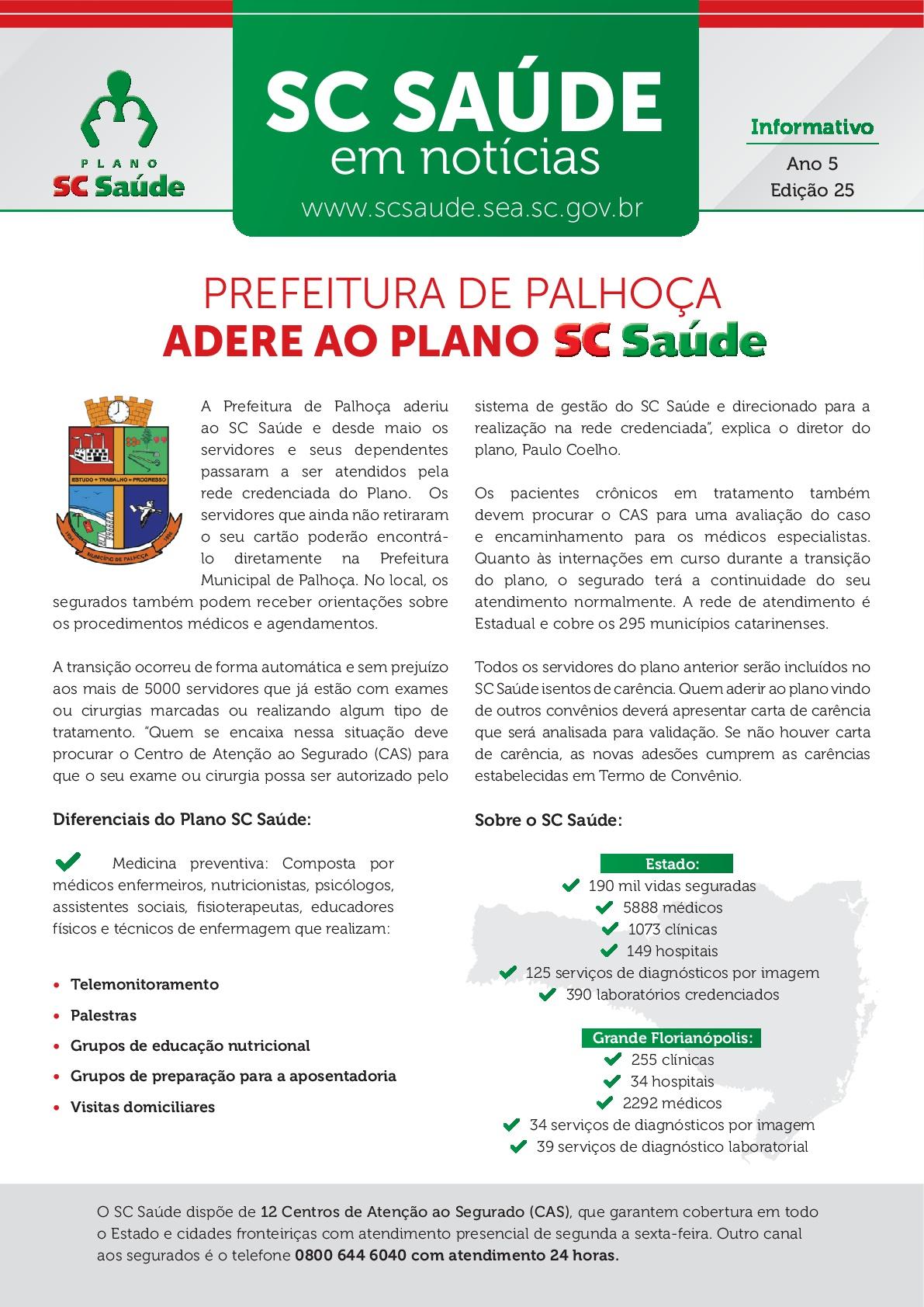 Edição #25 – Prefeitura de Palhoça adere ao plano SC Saúde
